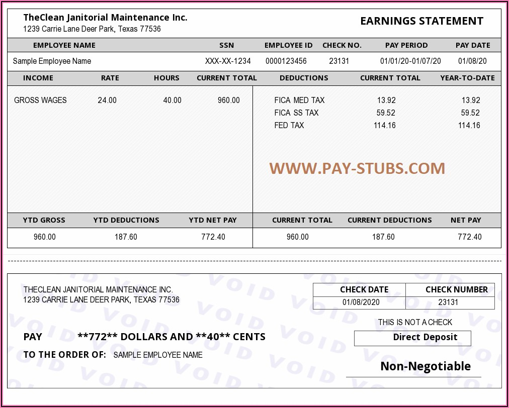 Template For Payment Stub