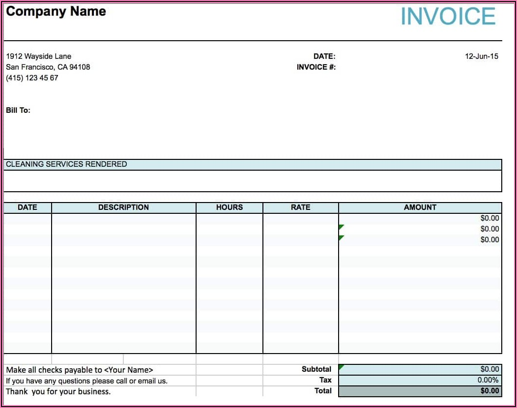 Template For Service Invoice Excel