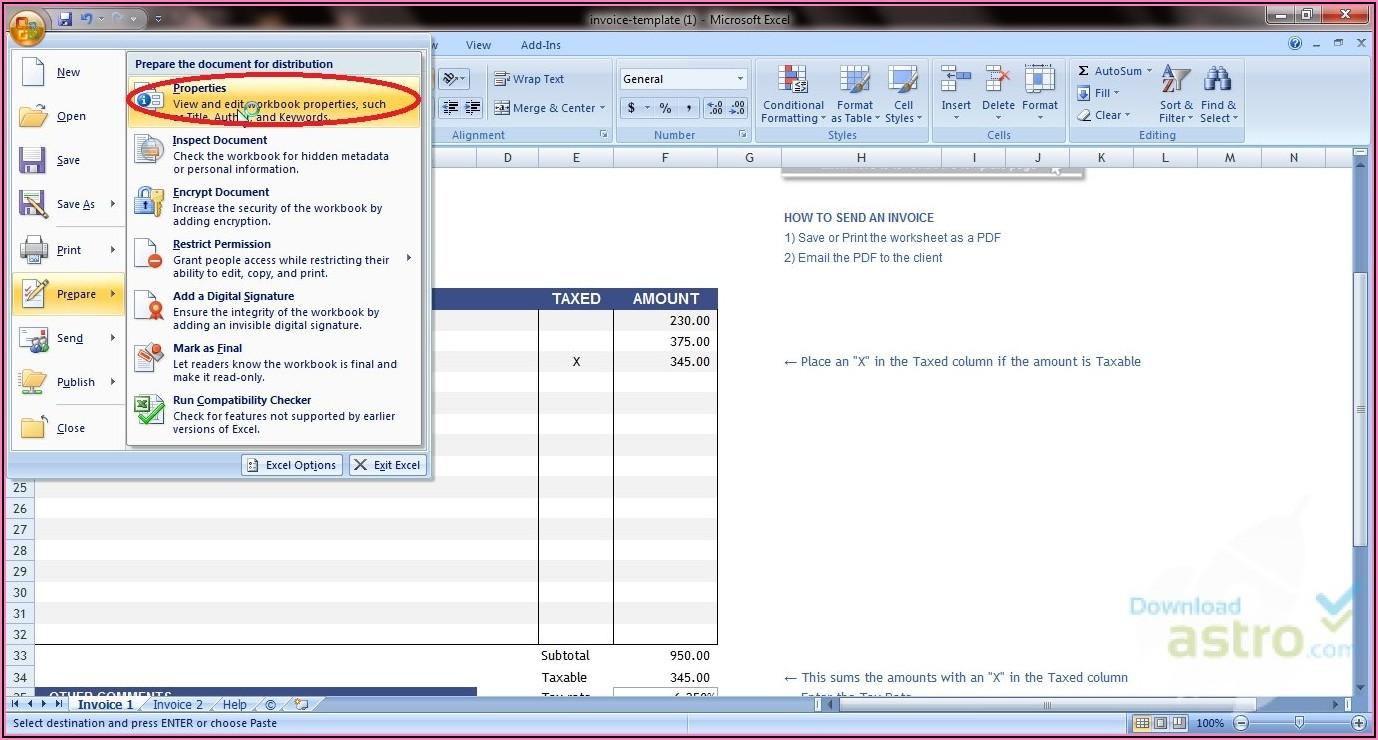 Template Invoice Excel Gratis