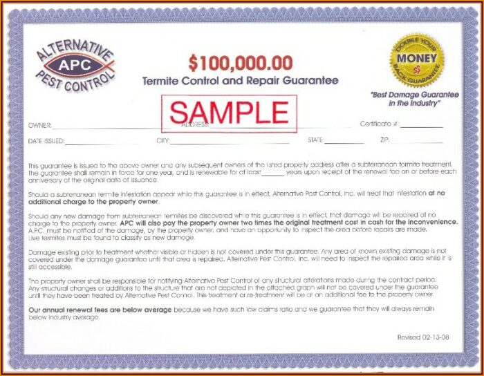 Termite Treatment Warranty Form