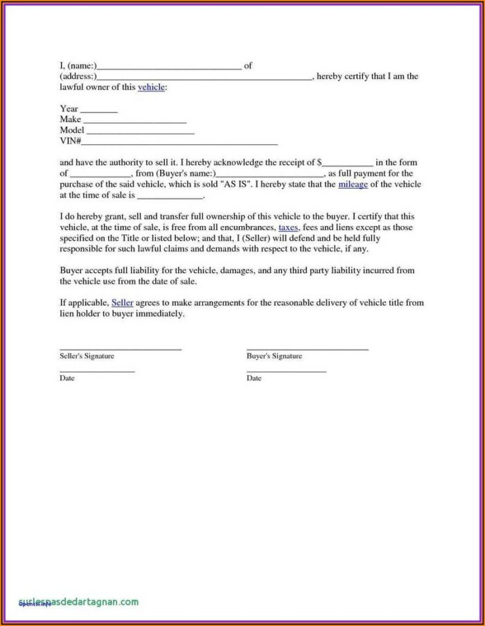 Texas Auto Bill Of Sale Form