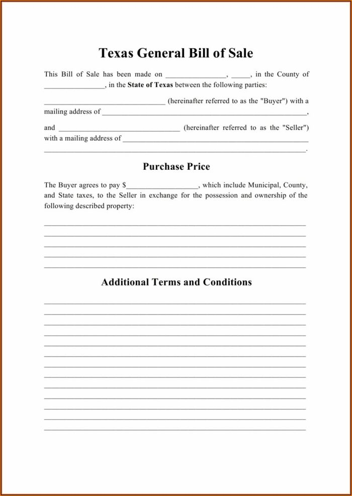 Texas Dept Of Motor Vehicle Bill Of Sale Form