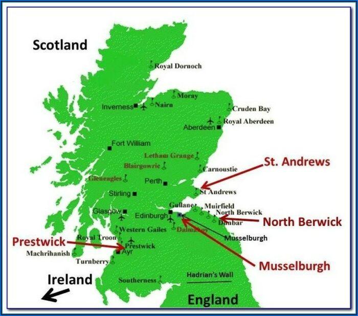 Top Golf Courses Scotland Map