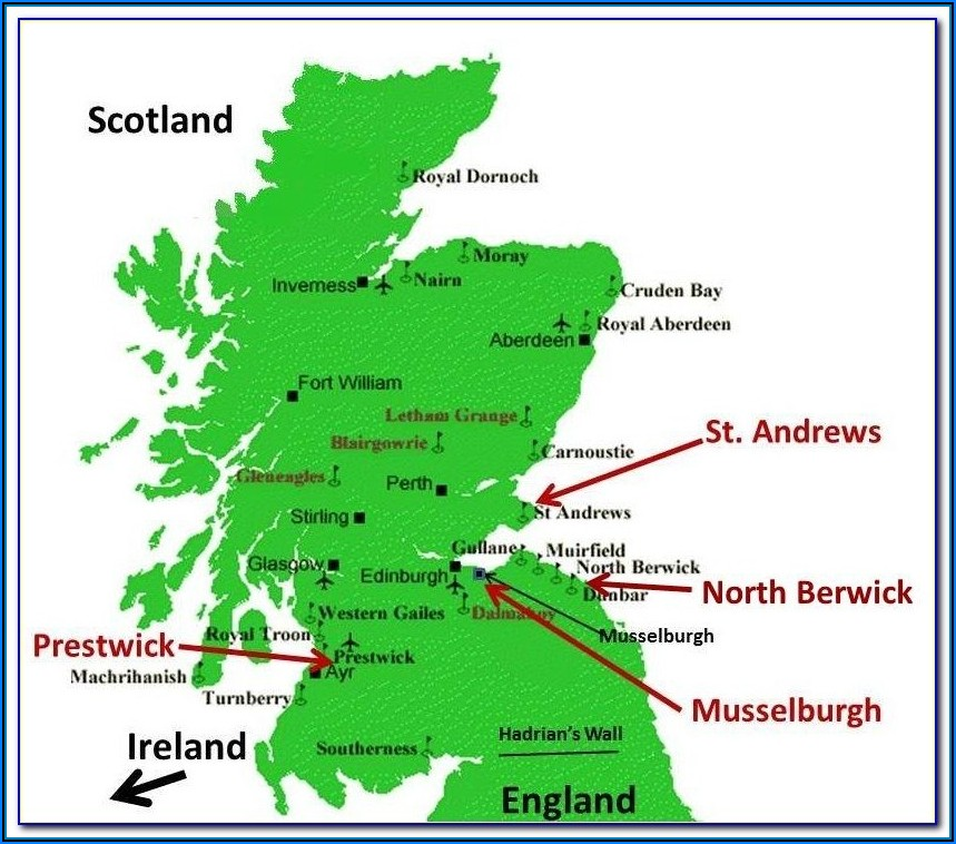 Top Golf Courses Scotland Map