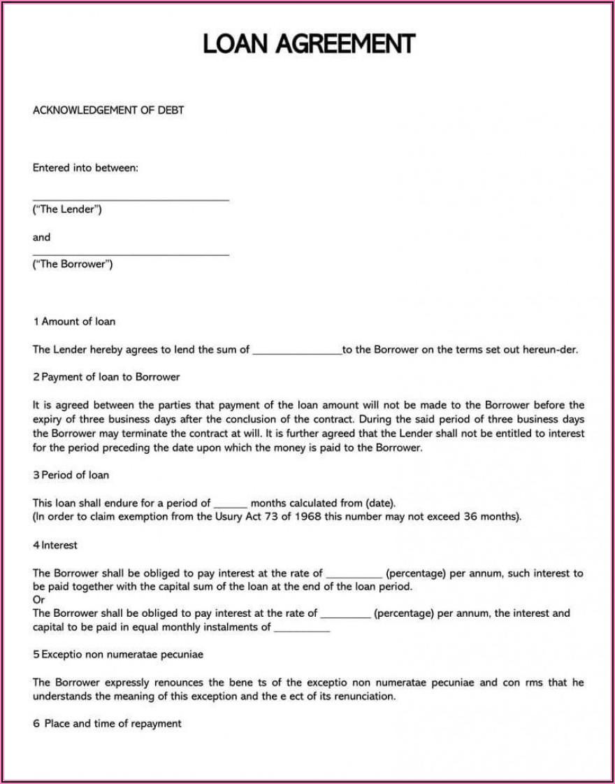 Unsecured Loan Agreement Template India