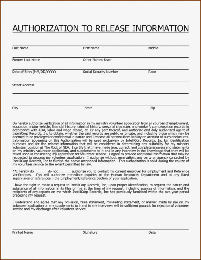 Volunteer Background Check Authorization Form Template