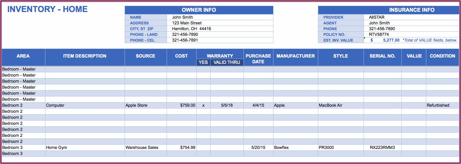 Warehouse Inventory Excel Template Free Download