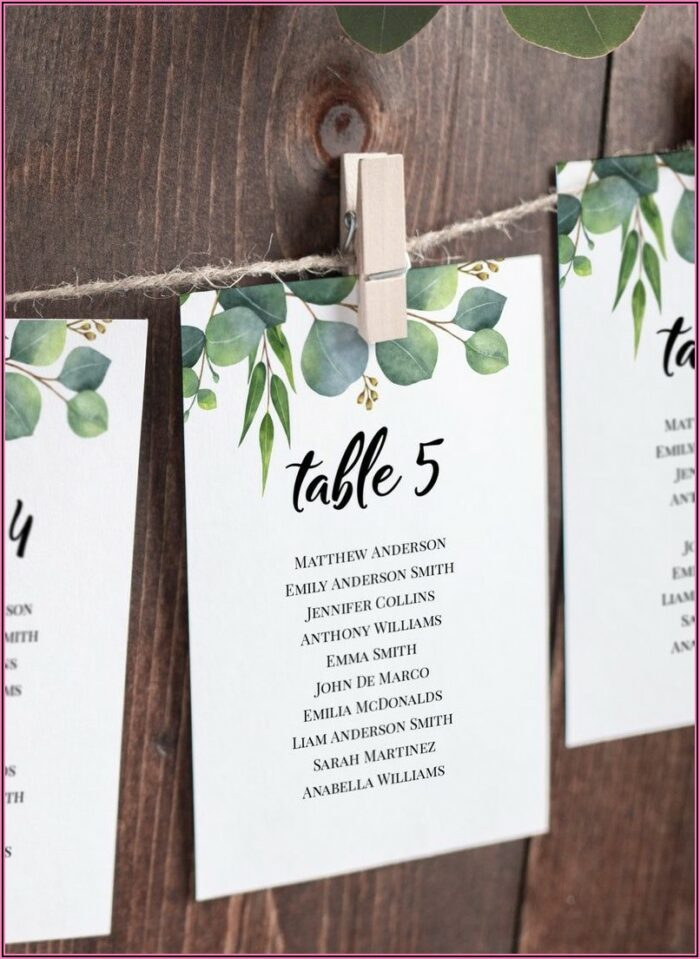 Wedding Seating Cards Template
