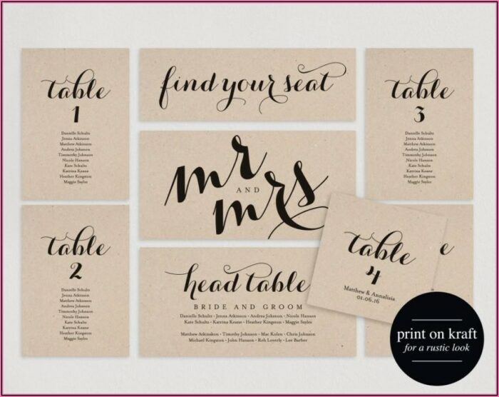 Wedding Table Seating Cards Template
