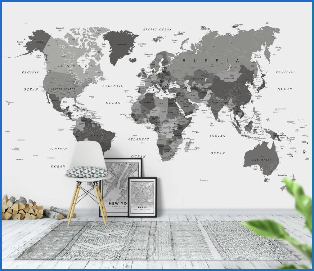 World Map Wallpaper Mural Black And White