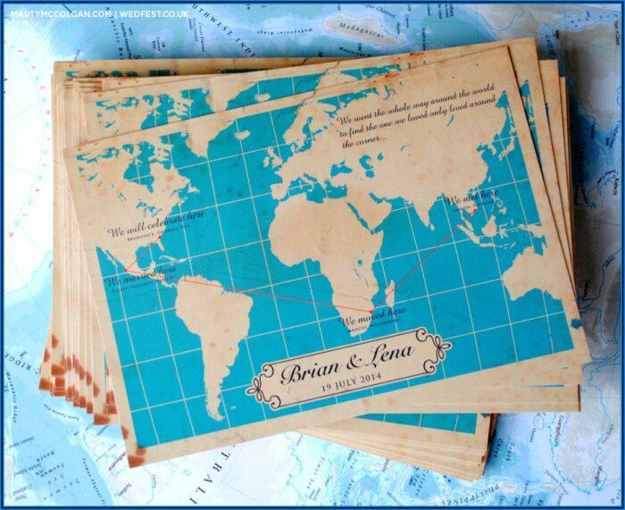 World Map Wedding Invites