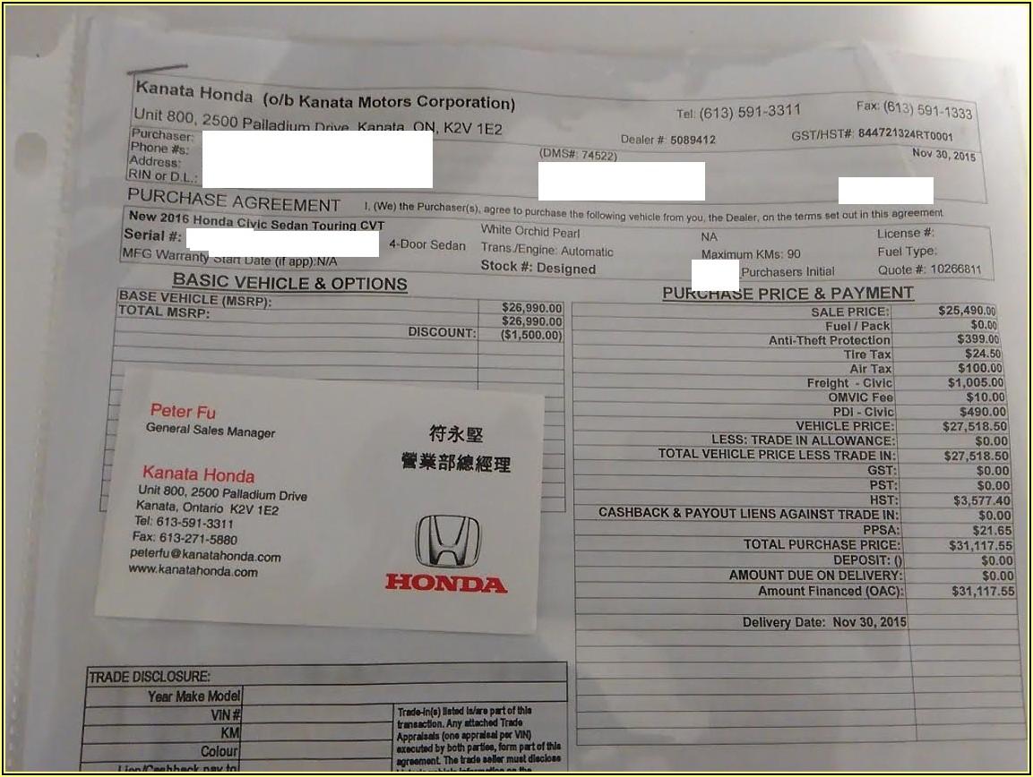 2019 Honda Odyssey Dealer Invoice