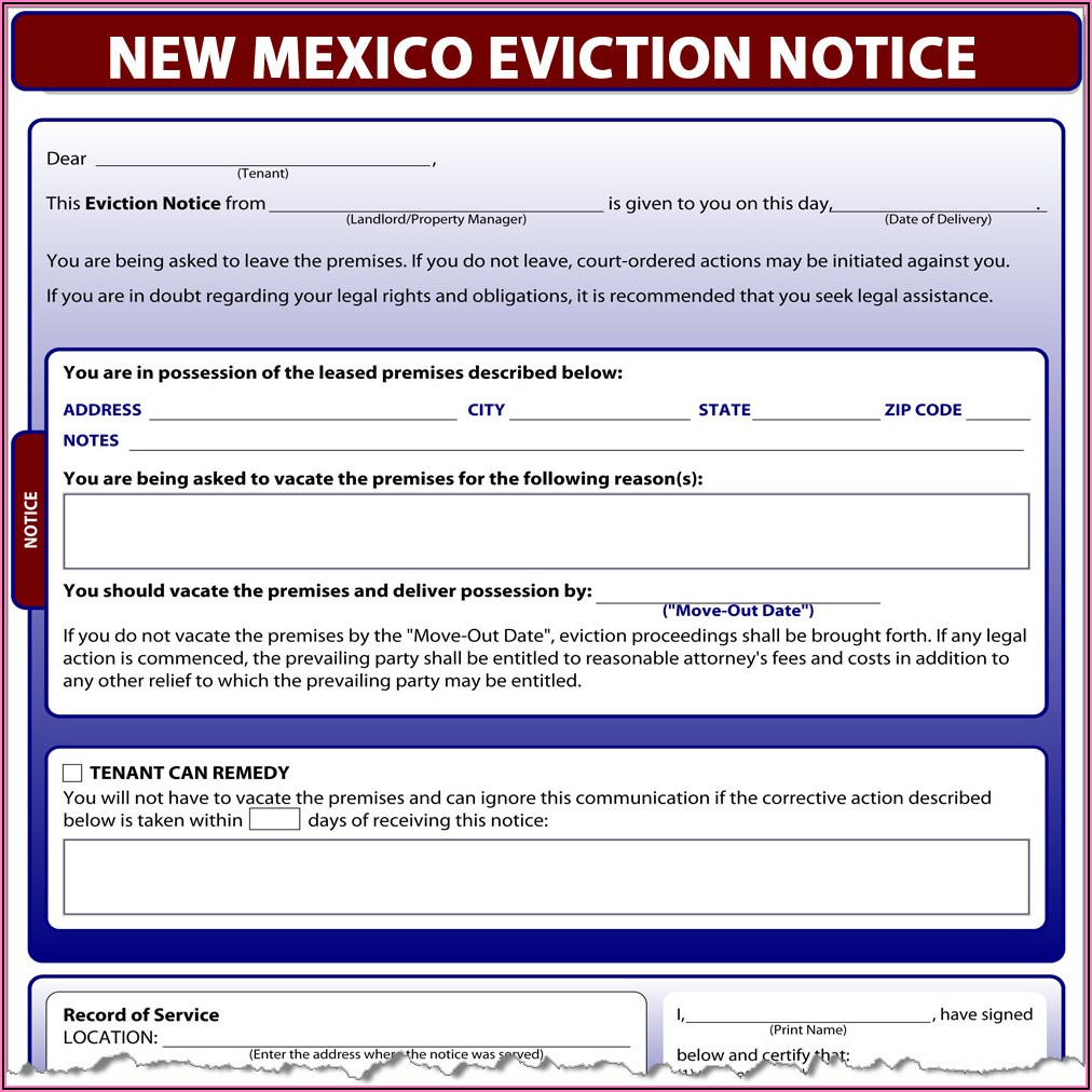30 Day Eviction Notice Form New Mexico