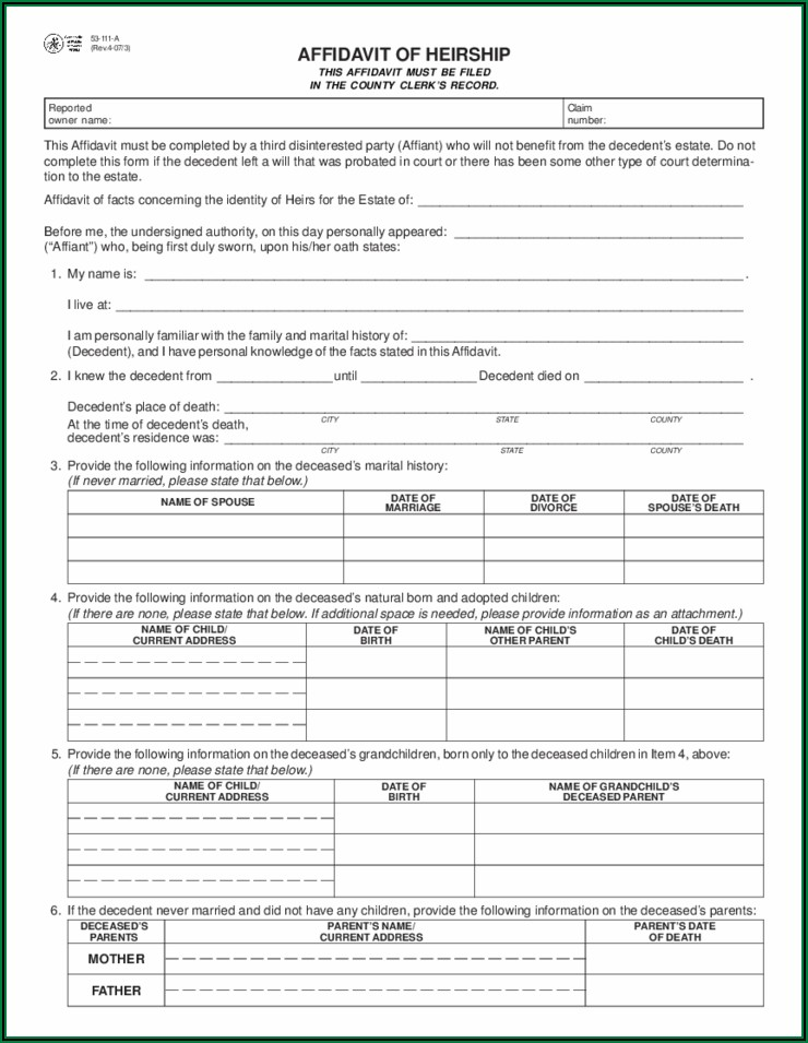 Affidavit Of Heirship Texas Form Free
