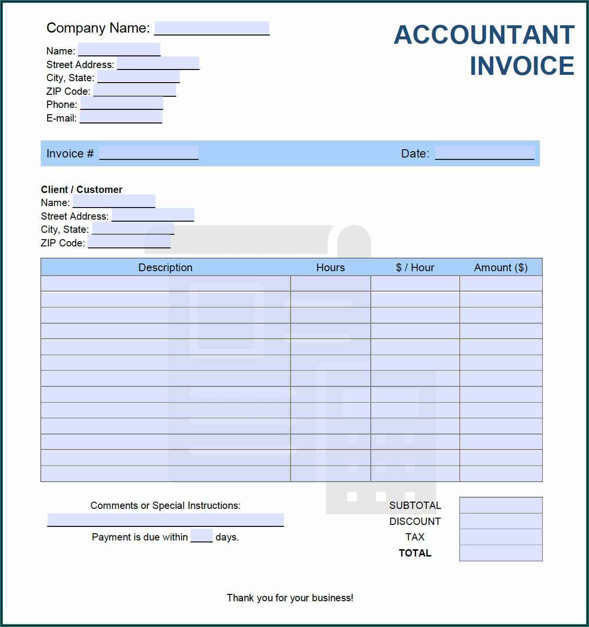 After School Care Invoice Template