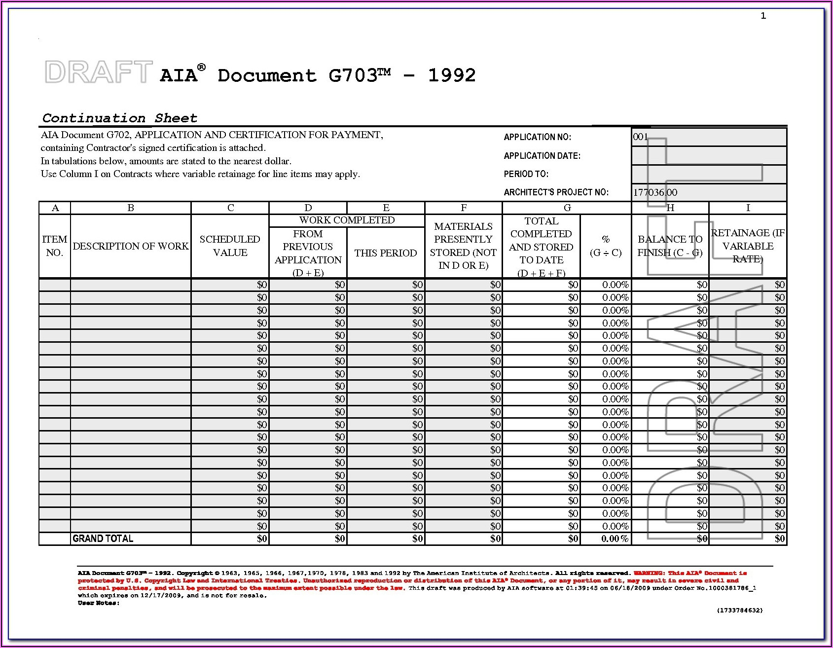 Aia Billing Form G703