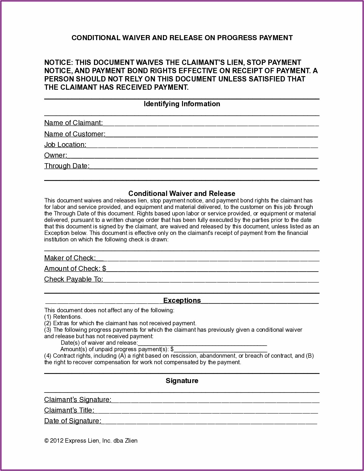Aia Subcontractor Release Of Lien Form