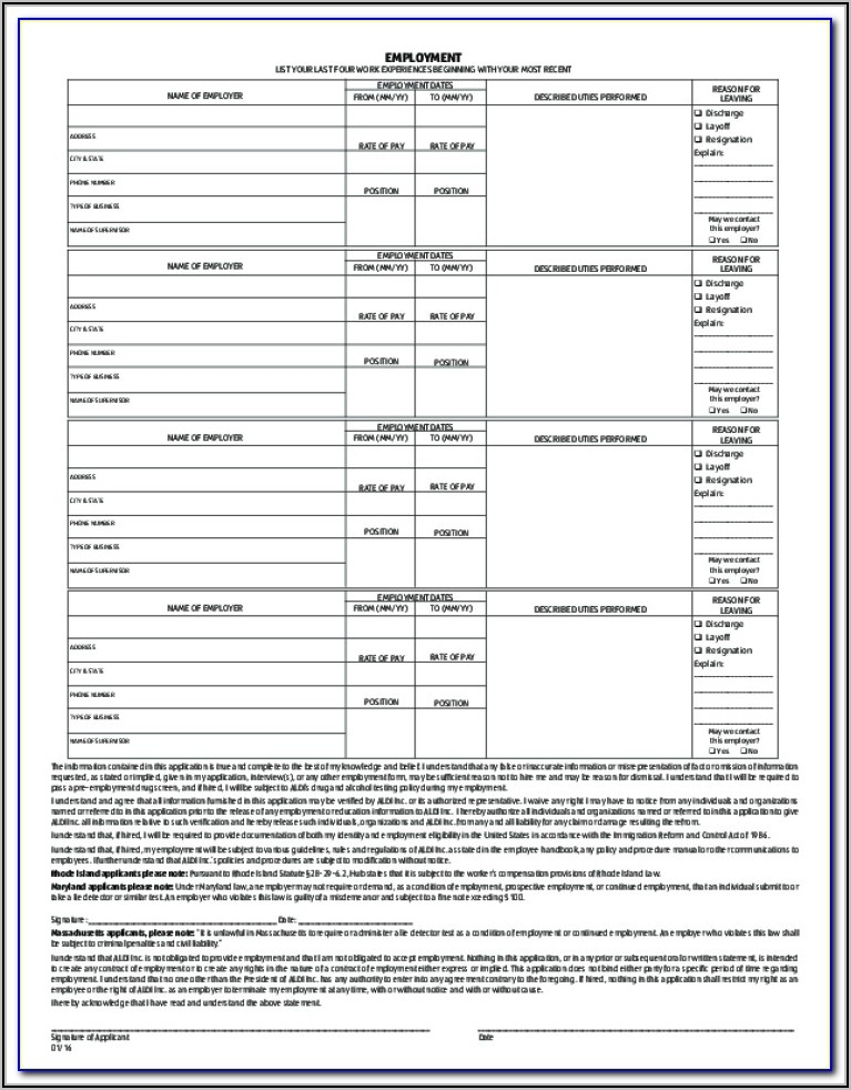 Aldi Job Application Form Pdf