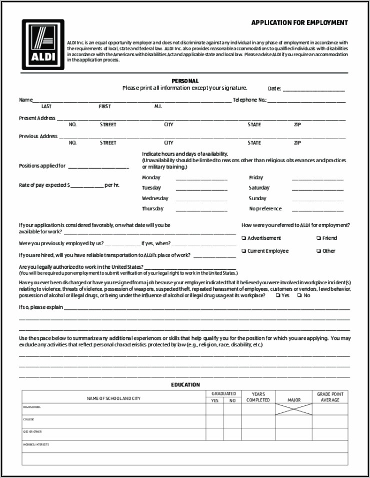 Aldi Store Job Application Form