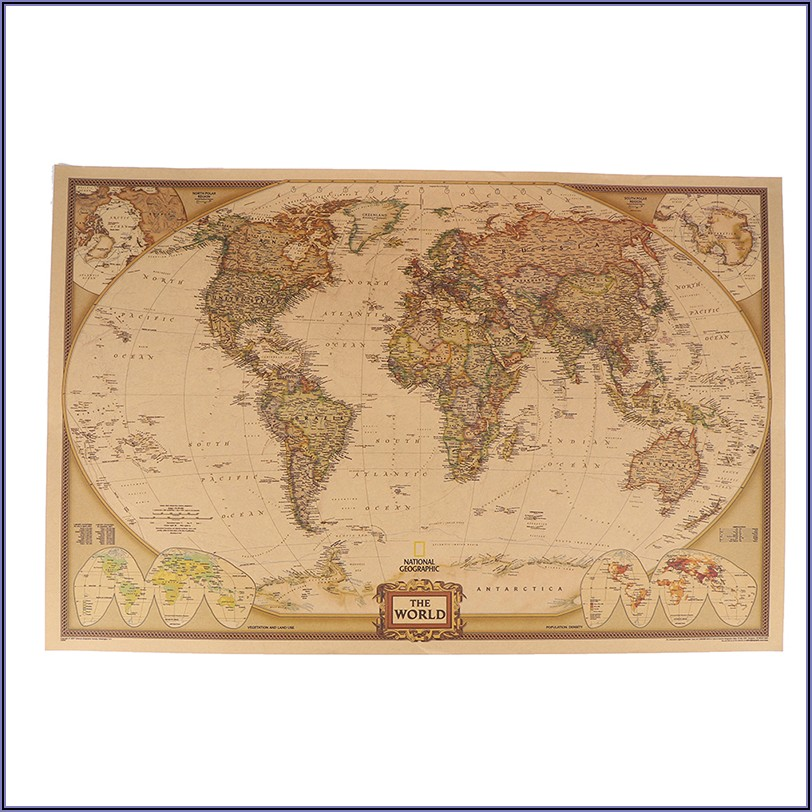 Antique World Map Poster Large