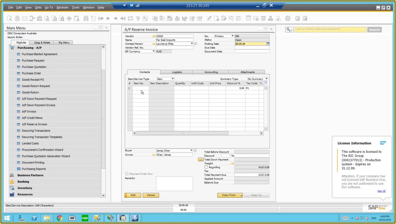 Ap Down Payment Invoice In Sap B1