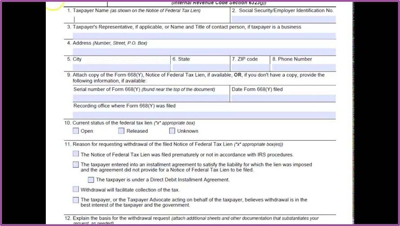 Application For Withdrawal Of Filed Form 668(a) Notice Of Federal Tax Lien
