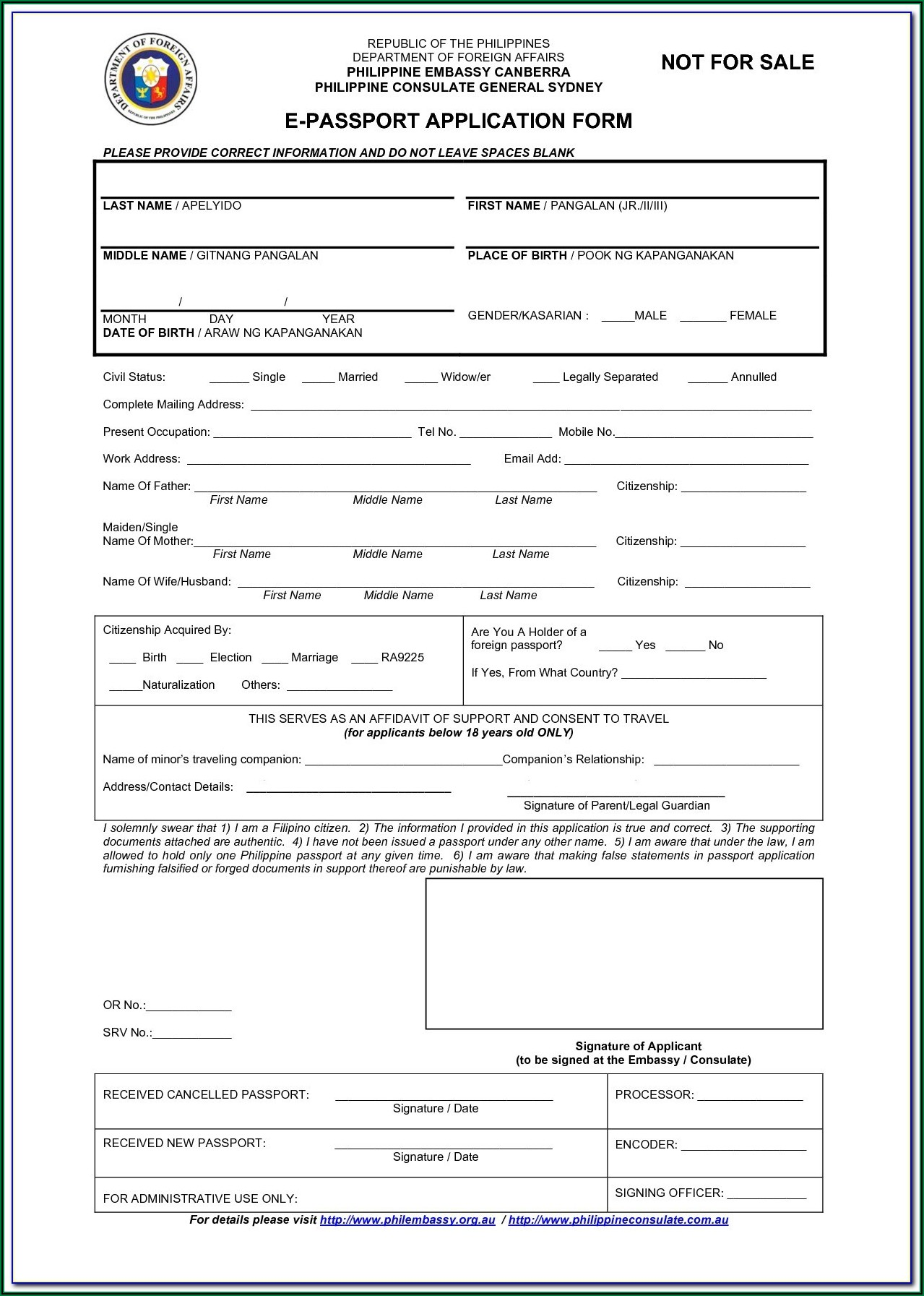 Application Form For Passport Renewal 2020