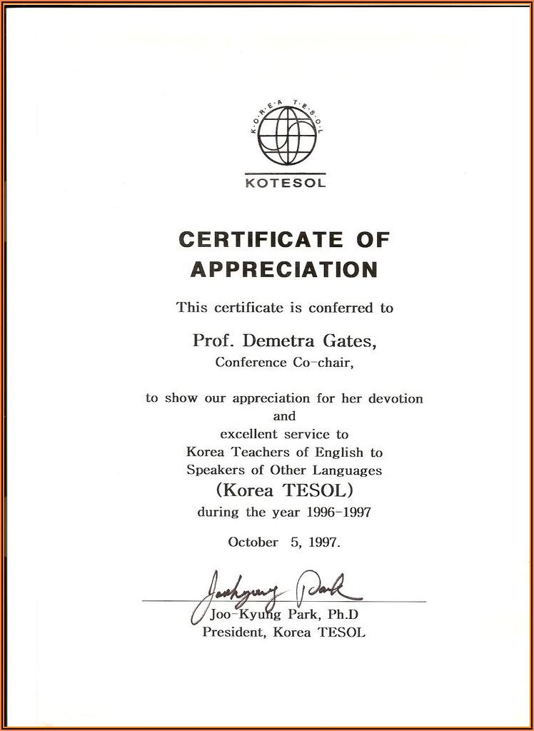 Appreciation Certificate Templates For Teachers