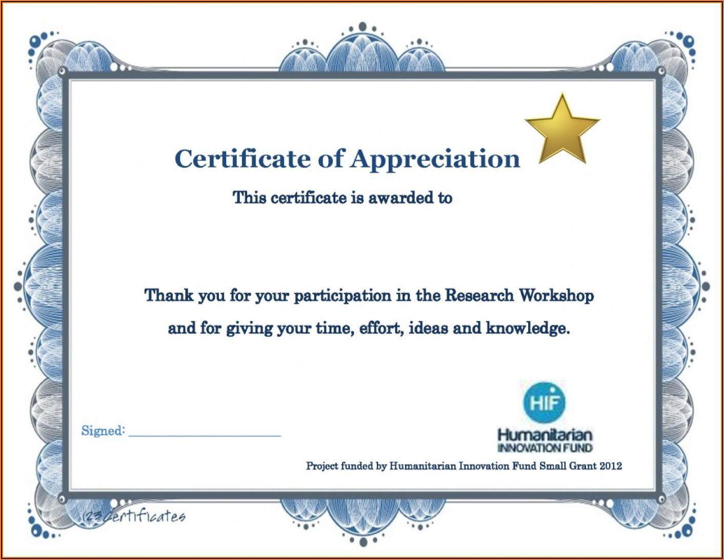 Appreciation Certificate Templates Word