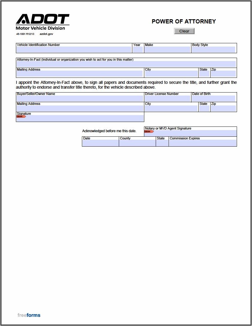 Arizona Power Of Attorney Form 48 1001