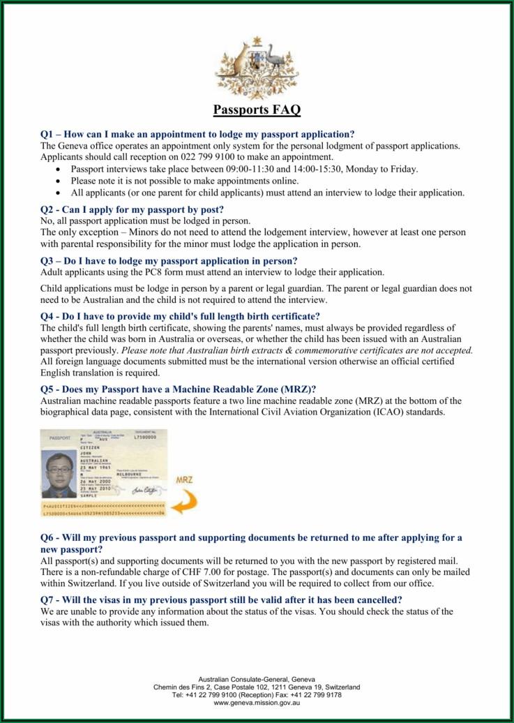 Australian Passport Renewal Application Form (pc7)