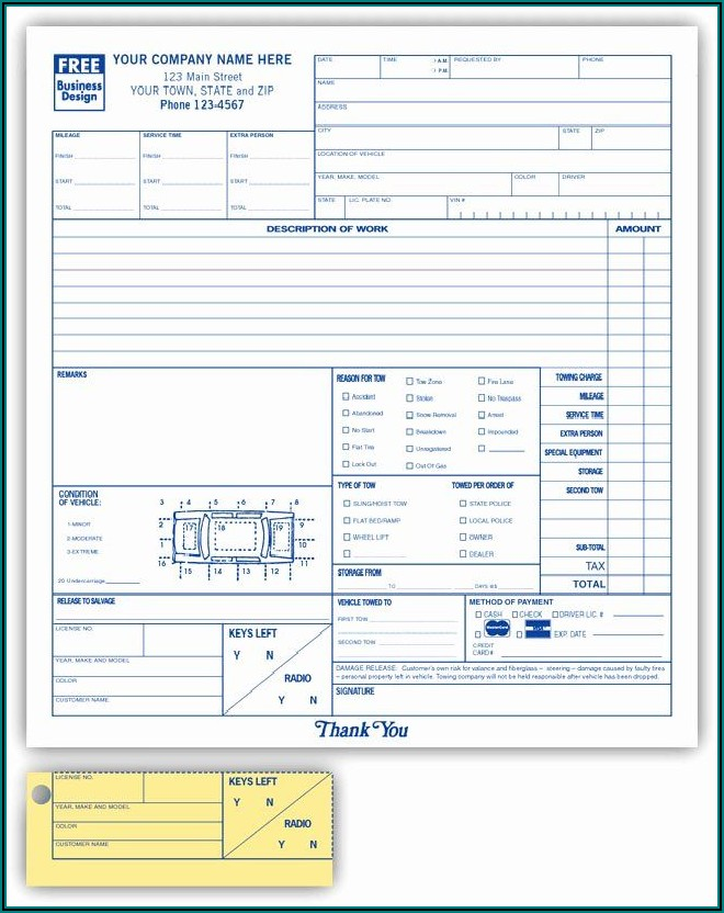 Auto Body Repair Order Template