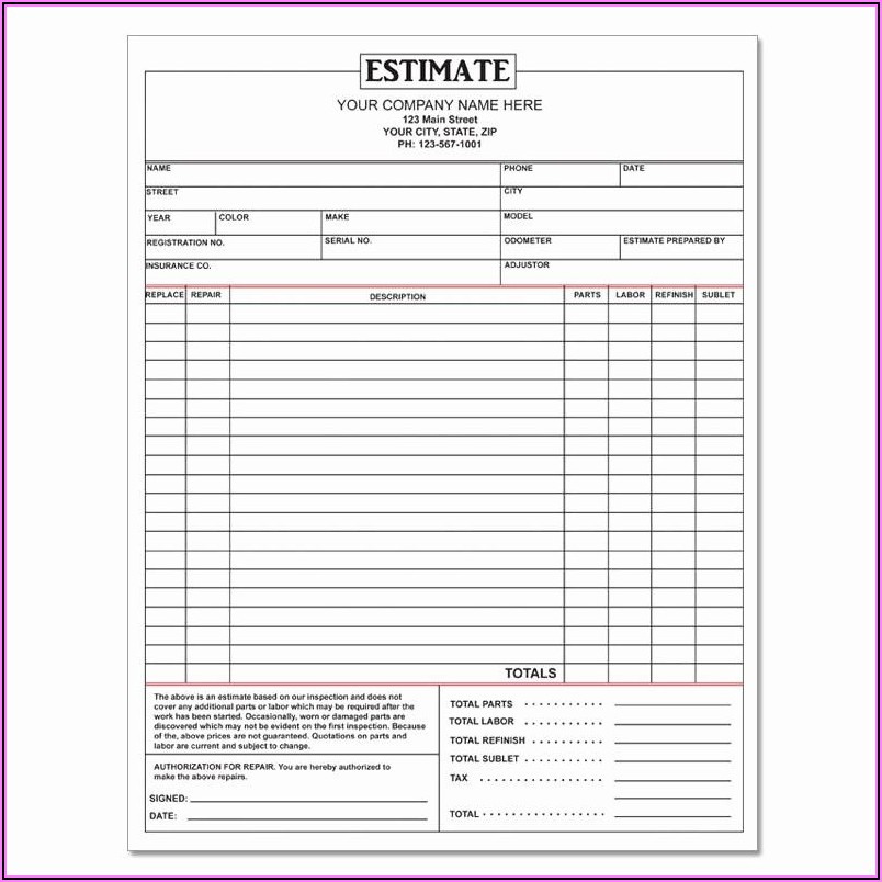 Auto Body Shop Forms