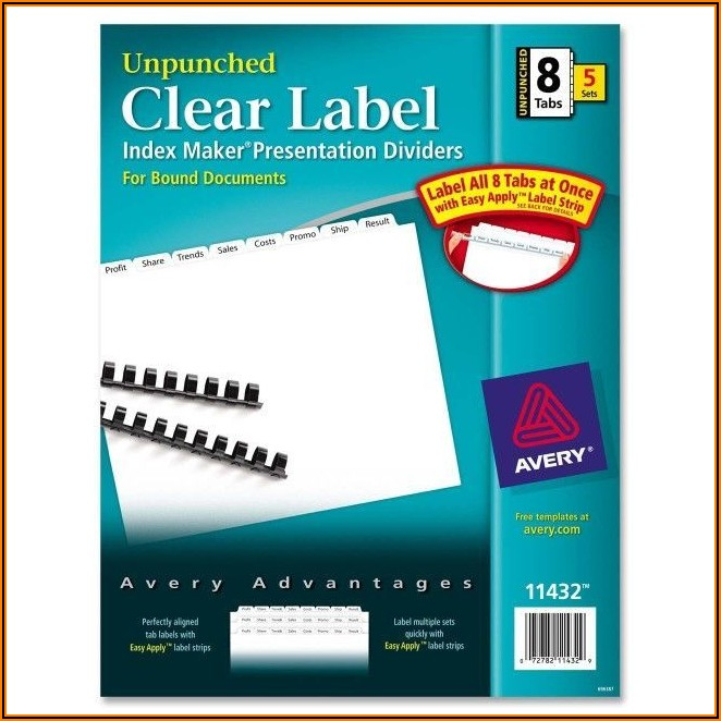 Avery 8 Index Tabs Template