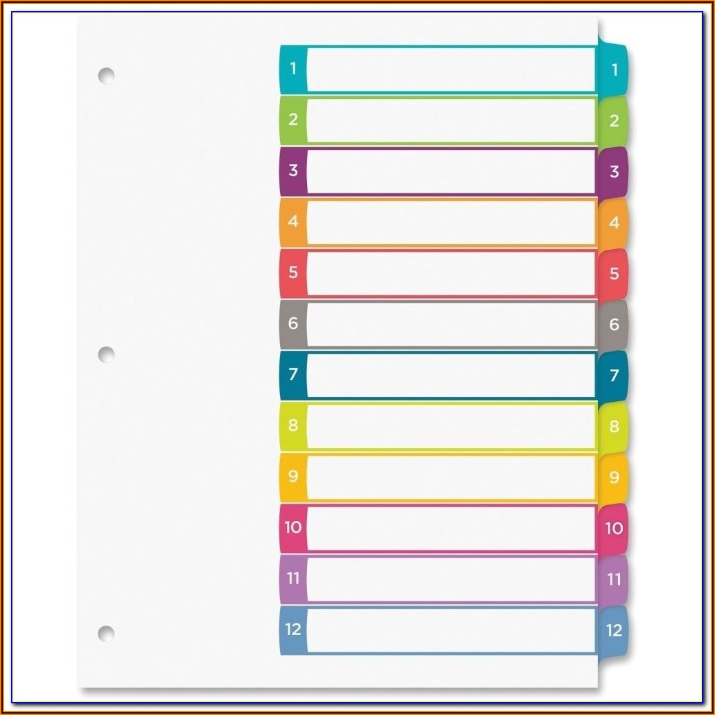 Avery Index 12 Tab Template