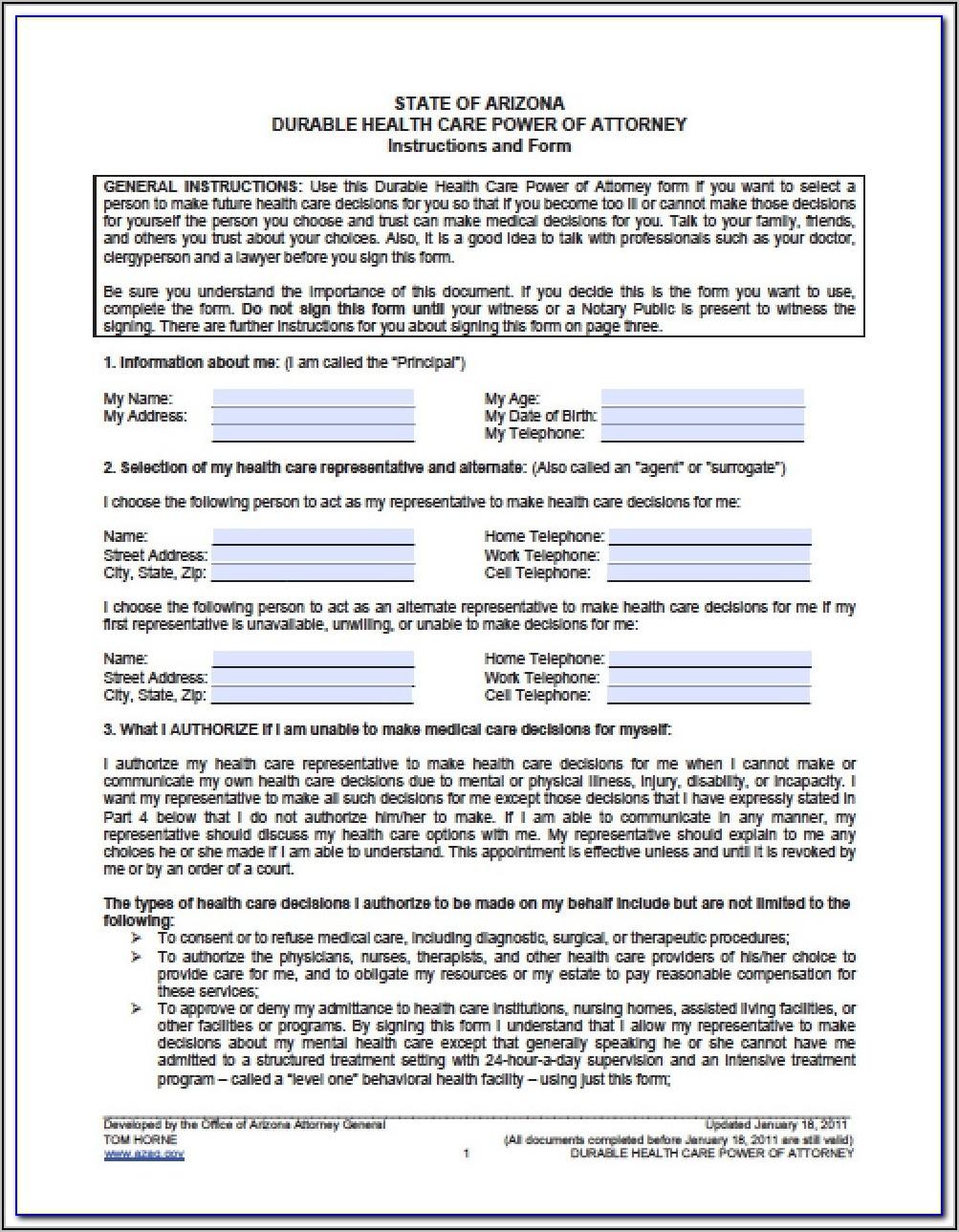 Az Power Of Attorney Form Dmv
