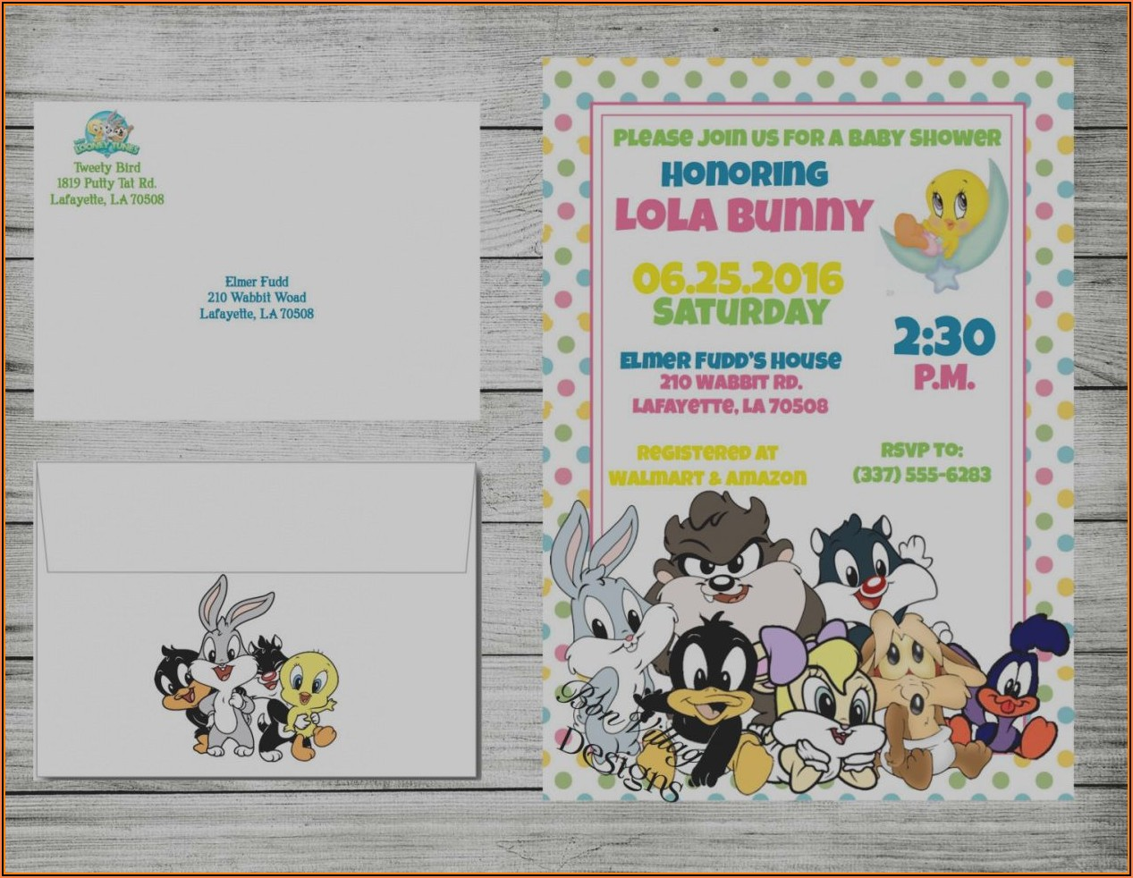 Baby Looney Tunes Baby Shower Invitation Templates