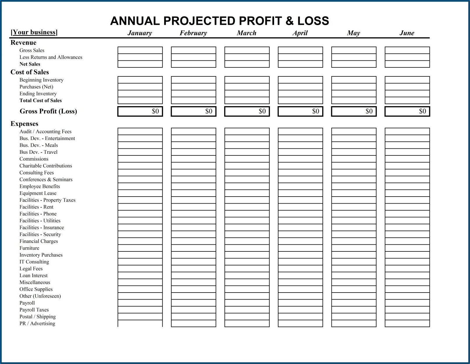 Basic Profit And Loss Statement Template Free