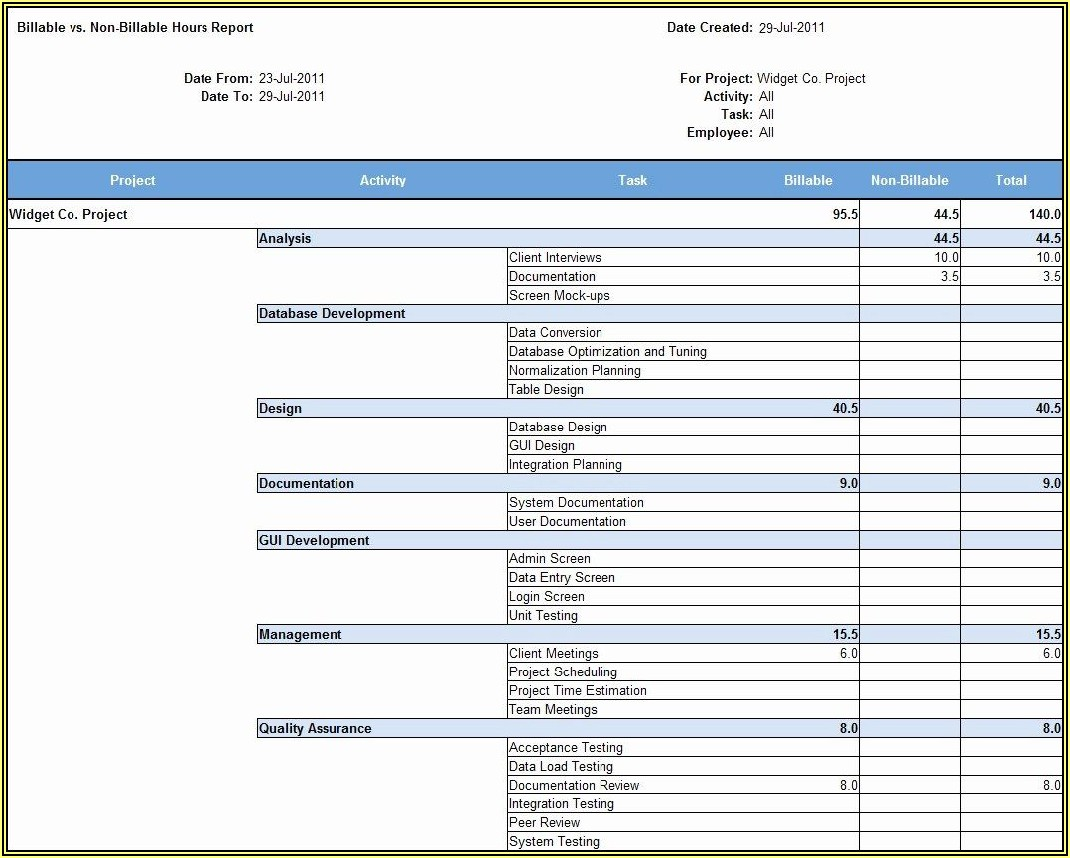 Billable Hours Invoice Excel Template