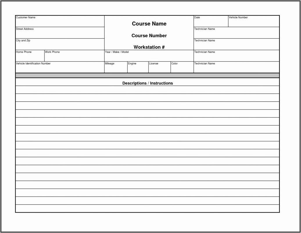 Blank Automotive Repair Invoices