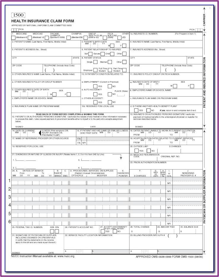 Blank Cms 1500 Claim Form Pdf