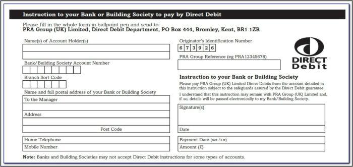 Blank Direct Debit Form Template