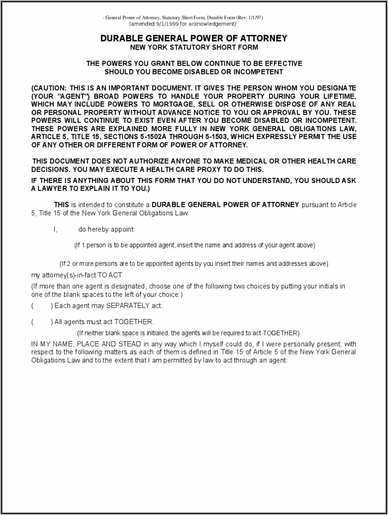 Blank Durable Power Of Attorney Form New York