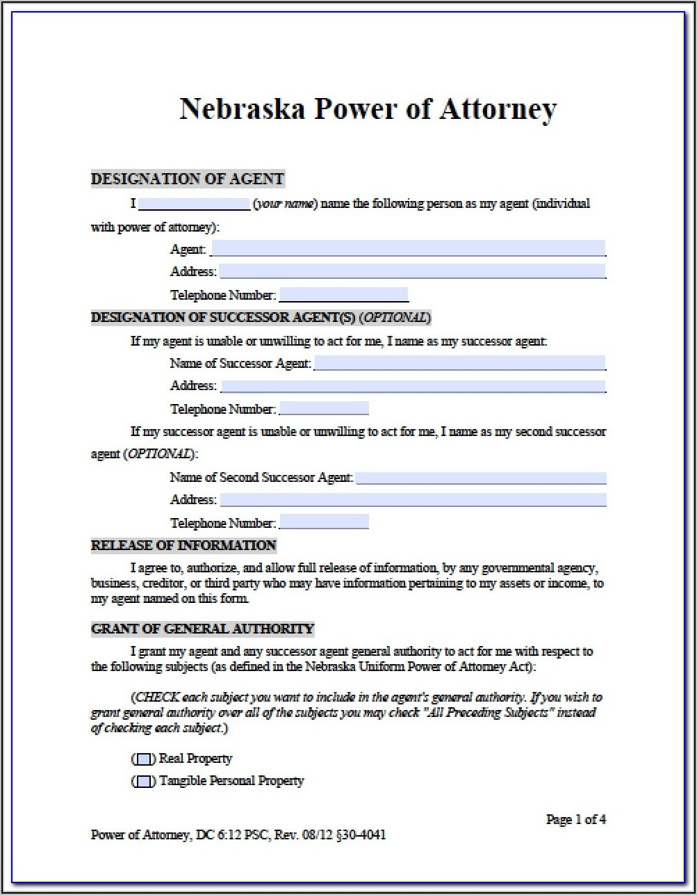 Blank Durable Power Of Attorney Form
