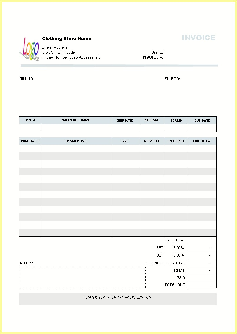 Blank Invoice Template Excel Free Download