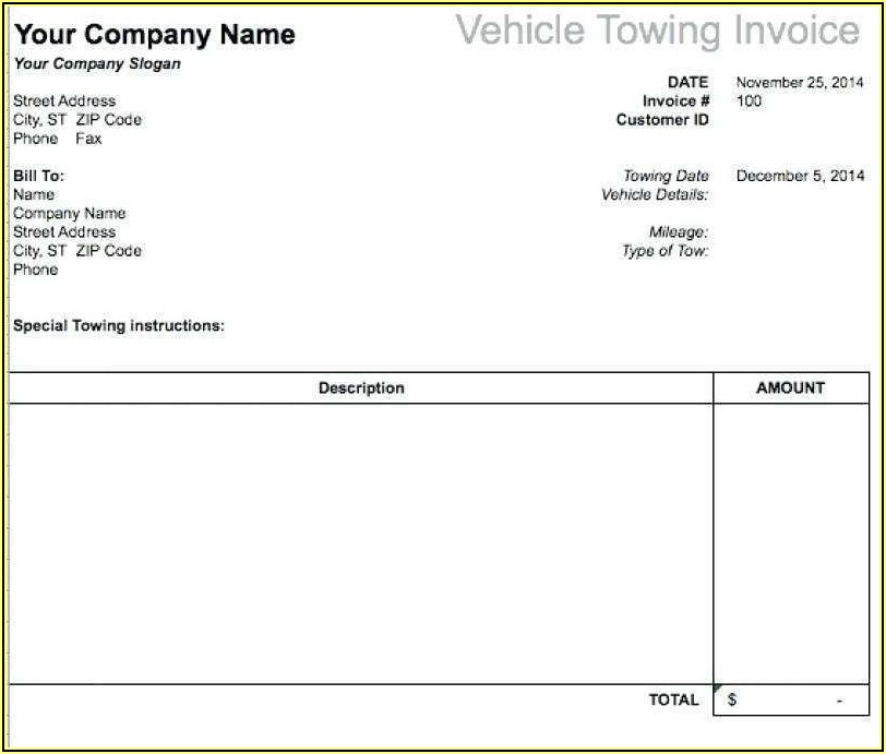 Blank Trucking Invoice Template