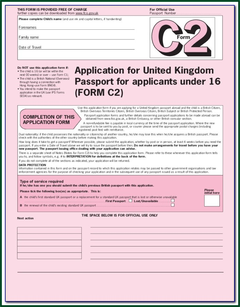 British Passport Renewal Forms