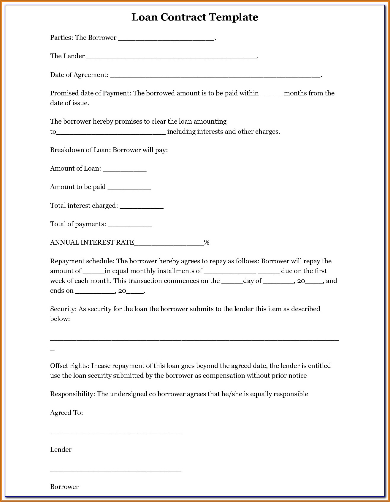 Business Loan Agreement Template Word