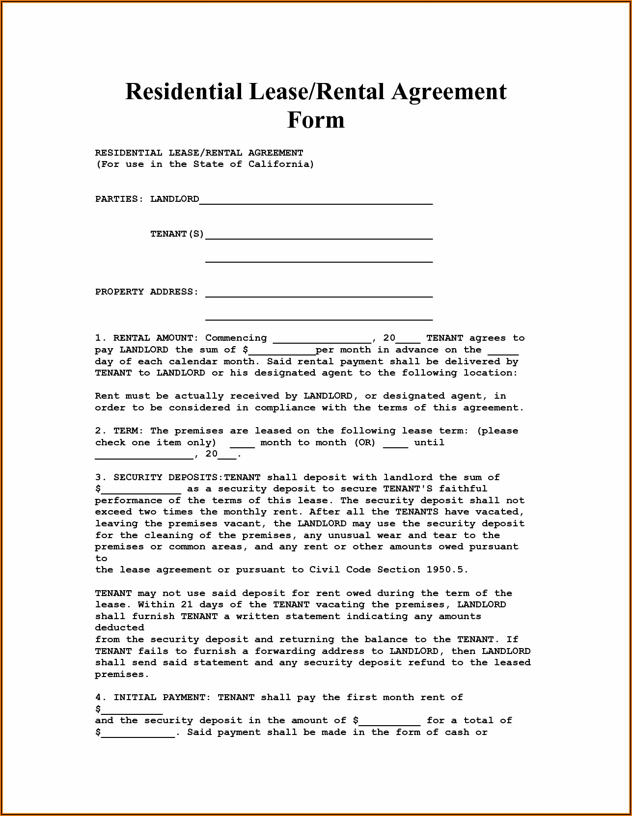 California Real Estate Lease Agreement Form