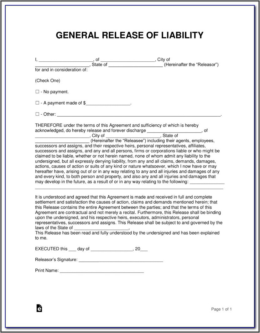 Car Accident Release Of Liability Form Canada